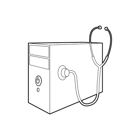 computer system: Computer system unit and stethoscope icon in outline style on a white background Illustration