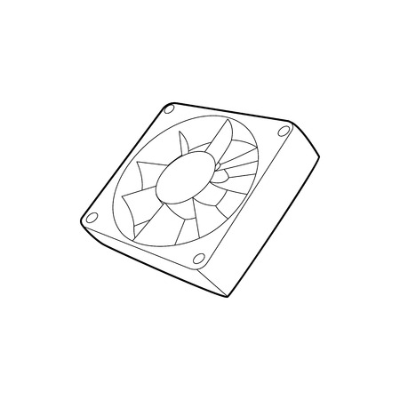 computer case: Computer case cooling fan icon in outline style on a white background