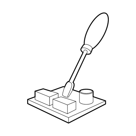 Computer repair icon in outline style on a white background Illustration