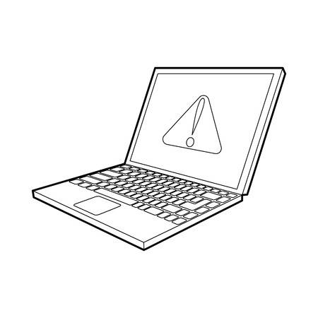 office theft: laptop with a warning signal icon in outline style on a white background