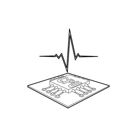 capacitor: CPU with a heart beat icon in outline style on a white background Illustration
