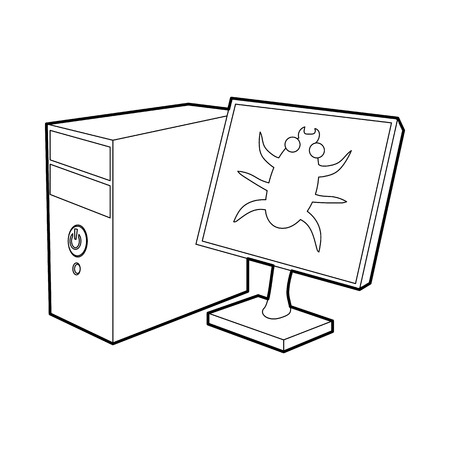 nternet: Bug on the monitor of personal computer icon in outline style on a white background Illustration