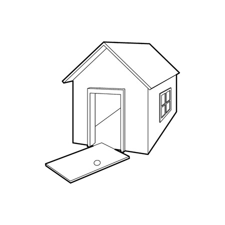 destroyed: House destroyed icon in outline style on a white background Illustration