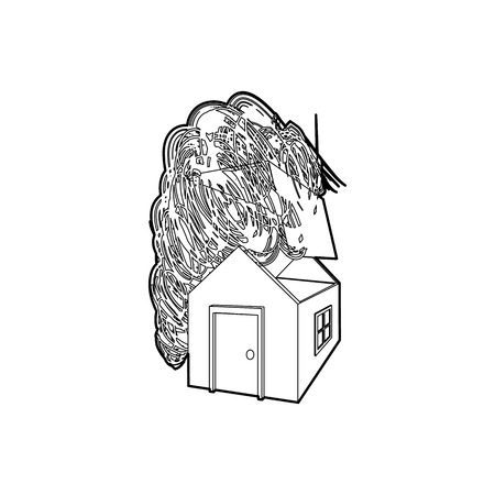 subsidence: House destroyed by hurricane icon in outline style on a white background
