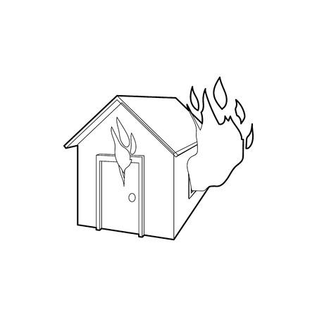 Huis in brand icoon op hoofdlijnen stijl op een witte achtergrond Stock Illustratie