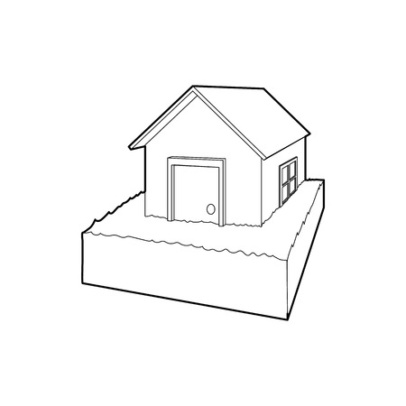 flood damage: Flooded house icon in outline style on a white background