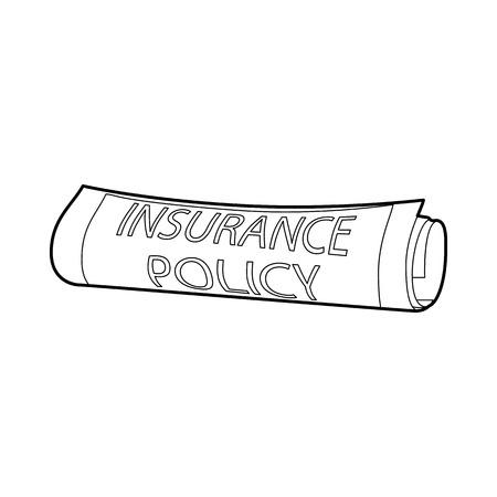 icône de police d'assurance dans les grandes lignes de style sur un fond blanc