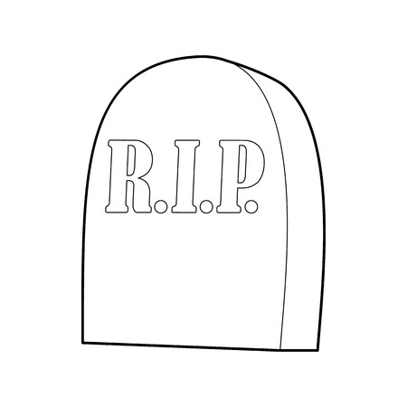tribute: Tombstone with RIP icon in outline style on a white background