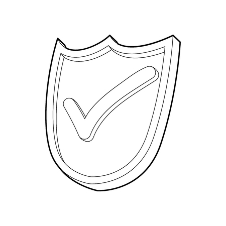 green tick: Shield with green tick icon in outline style on a white background