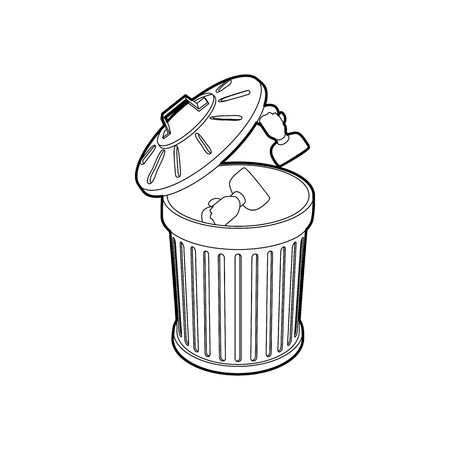 Resume thrown away in the trash can icon in outline style on a white background