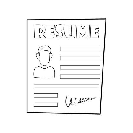 job descriptions: Resume icon in outline style on a white background