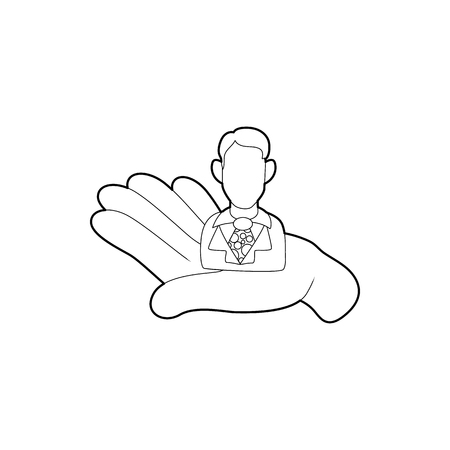 Hand holding a candidate for the job icon in outline style on a white background Illustration
