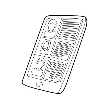 data line: Resumes on the tablet screen icon in outline style on a white background Illustration