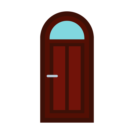 handles: Arched wooden door icon in flat style isolated on white background Illustration