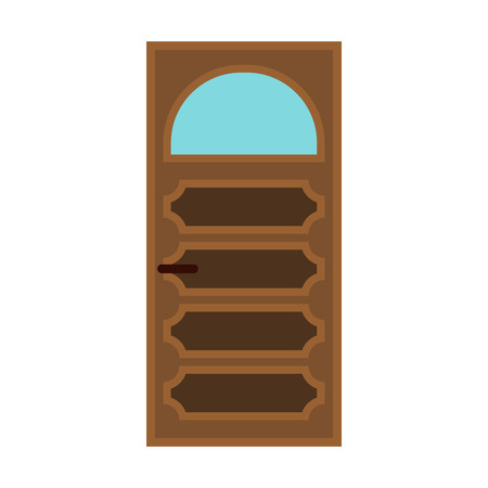 archway: Interior door with glass icon in flat style isolated on white background Illustration