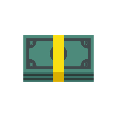 pile of money: Pile of money cash icon in flat style isolated on white background