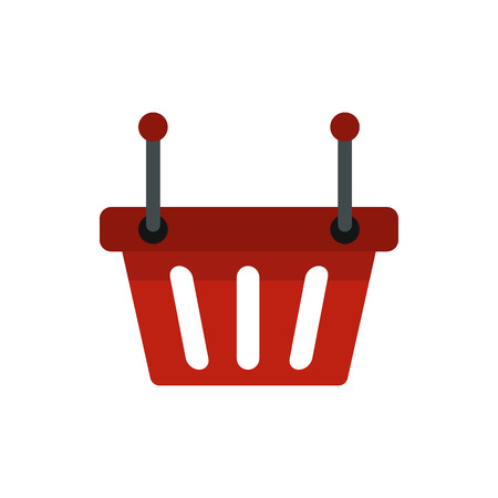 checkout line: Shopping basket icon in flat style isolated on white background