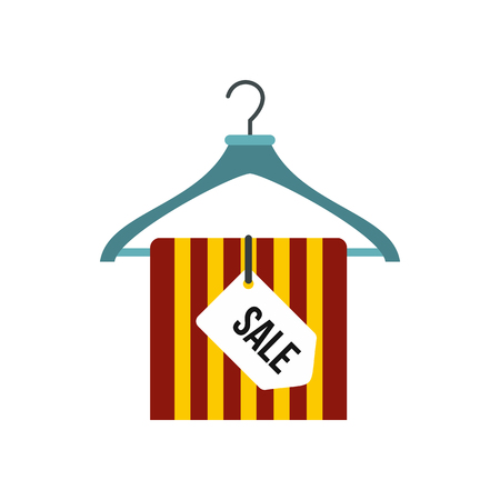 Hanger with sale sign icon in flat style isolated on white background Illustration
