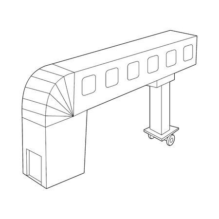 telescopic: Telescopic ladder icon in outline style isolated on white background. Airport symbol