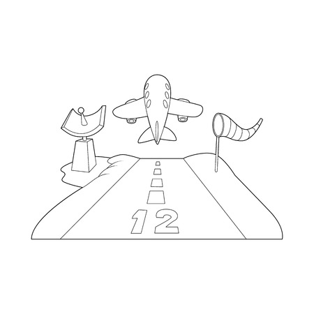 Runway icon in outline style isolated on white background. Airport symbol Illustration