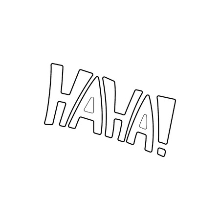 ridicule: Word Haha icon in outline style isolated on white background. Laughter symbol