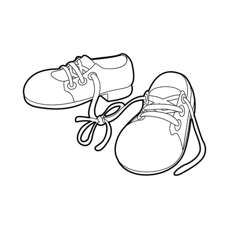joke: Tied shoes joke icon in outline style isolated on white background. Funny symbol