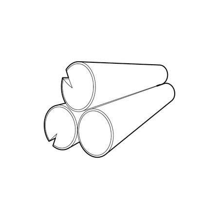 Logs icône dans style de contour isolé sur fond blanc. symbole Felling