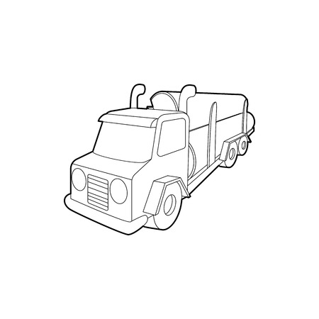 logging truck: Logging truck logs icon in outline style isolated on white background. Felling symbol