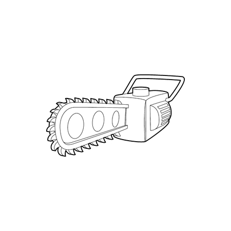 timber cutting: Chainsaw icon in outline style isolated on white background. Saw symbol