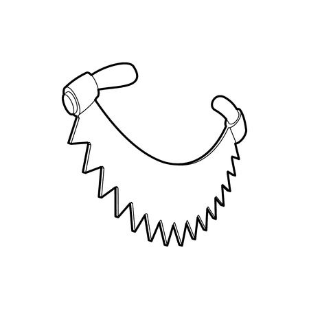 felling: Saw with two handles icon in outline style isolated on white background. Felling symbol