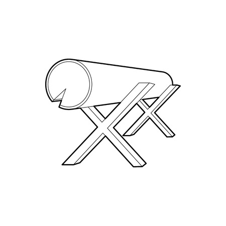 felling: Goats for sawing logs icon in outline style isolated on white background. Felling symbol