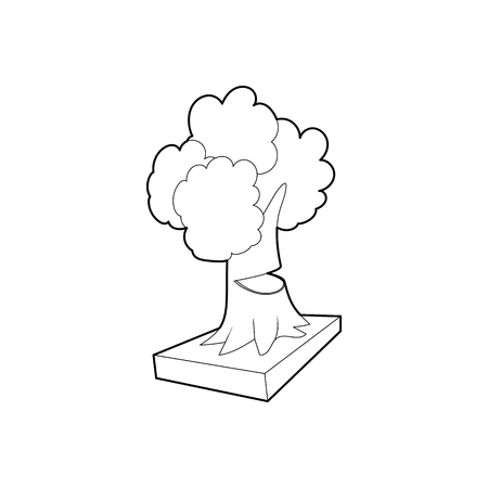 felling: Cut tree icon in outline style isolated on white background. Felling symbol