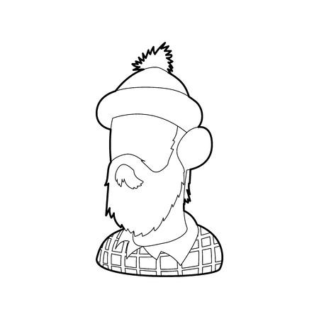 Lumberjack icon in outline style isolated on white background. Employee symbol