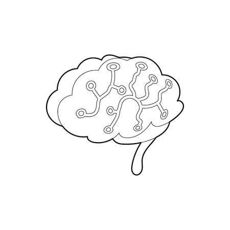 sensors: Sensors on human brain icon in outline style isolated on white background. Research symbol Illustration