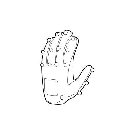 white glove test: Electronic glove icon in outline style isolated on white background. Technology and test symbol Illustration