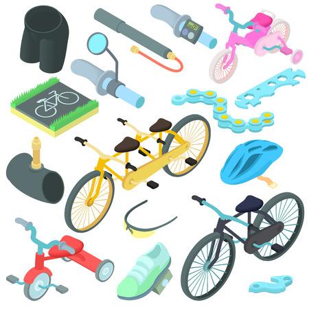 short break: Cartoon biking icons set. Universal biking icons to use for web and mobile UI, set of basic biking elements isolated vector illustration