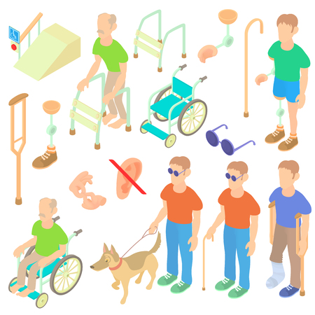 Isometric disabled people care set. Universal disabled people care icons to use for web and mobile UI, set of basic disabled people care elements isolated vector illustration