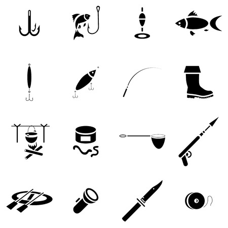 rainbow trout: Simple fishing icons set. Universal fishing icons to use for web and mobile UI, set of basic fishing elements vector illustration