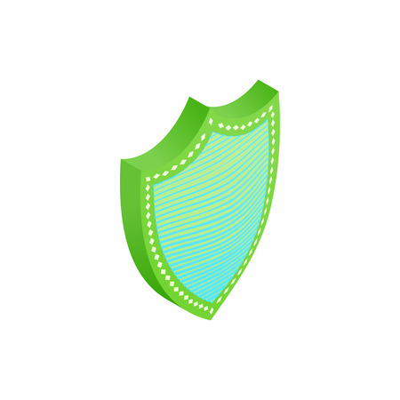 Green and blue shield icon in isometric 3d style isolated on white background