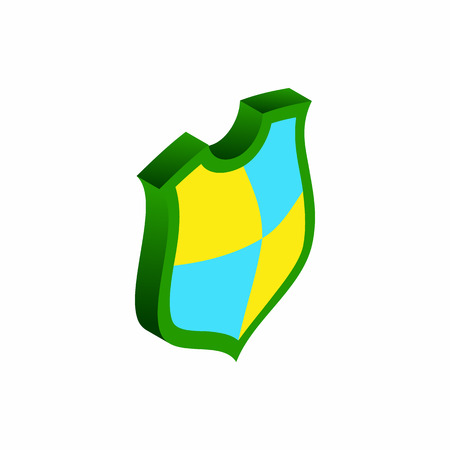 Protection shield concept icon in isometric 3d style isolated on white background Vector Illustration
