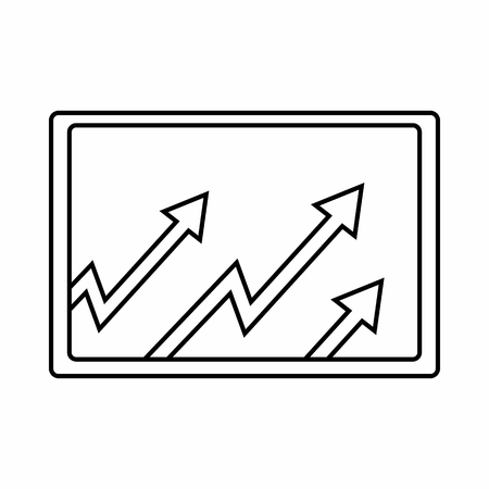 compute: Monitor with charts icon in outline style isolated on white background. Compute symbol Illustration