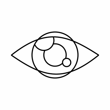 spying: Tracking eye icon in outline style isolated on white background. Spying symbol
