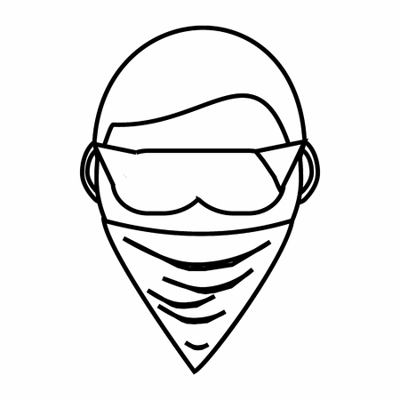 incognito: Spy in mask icon in outline style isolated on white background. Spying symbol