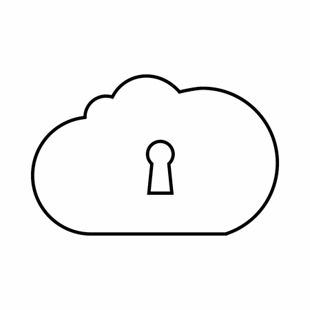 global settings: Cloud storage icon in outline style isolated on white background. Database symbol Illustration