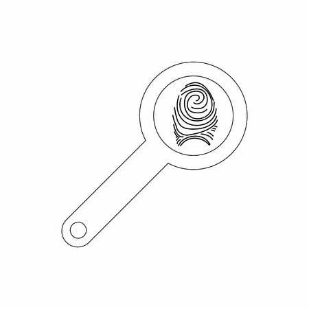 forensic: Magnifying glass with fingerprint icon in outline style isolated on white background. Search symbol