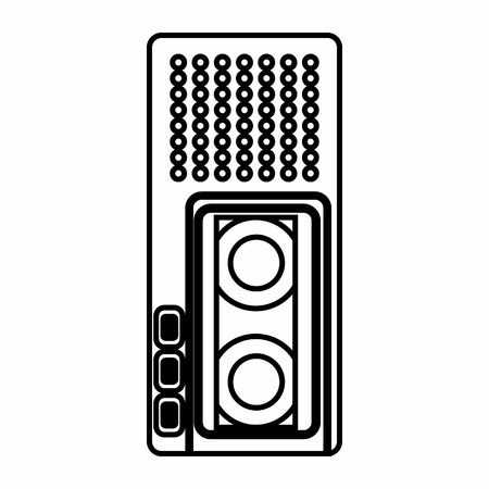 Dictaphone icon in outline style isolated on white background. Sound recording symbol Illustration