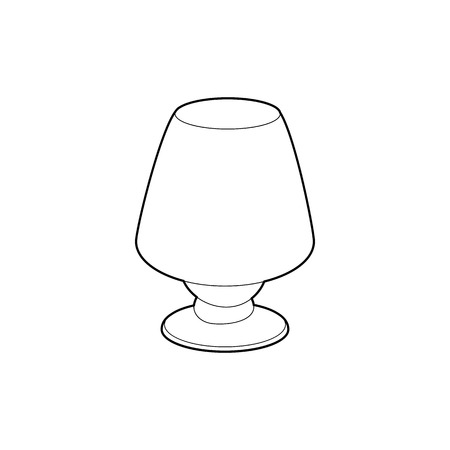 lamp outline: Floor lamp icon in outline style isolated on white background. Illumination symbol