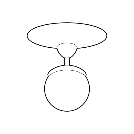 chandelier isolated: Round chandelier icon in outline style isolated on white background. Illumination symbol