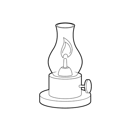 gas lamp: Gas lamp icon in outline style isolated on white background. Illumination symbol