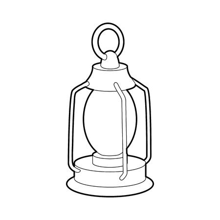 kerosene: Kerosene lamp icon in outline style isolated on white background. Illumination symbol